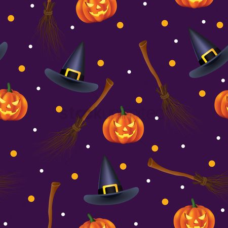 Broom : Halloween pattern background