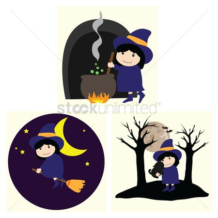 Broom : Halloween witch set