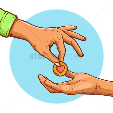 Currencies : Hand giving away a coin with heart shaped