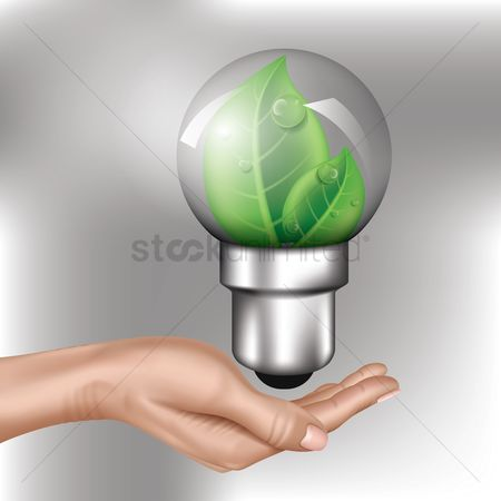 Electricity : Hand with bulb