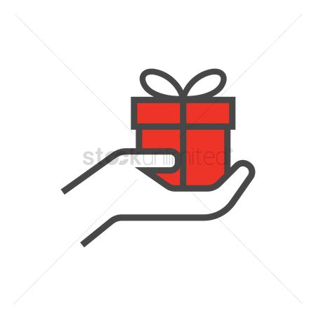 Surprise : Hand with gift box icon