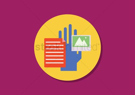 Background : Hand with the document and gallery clipart