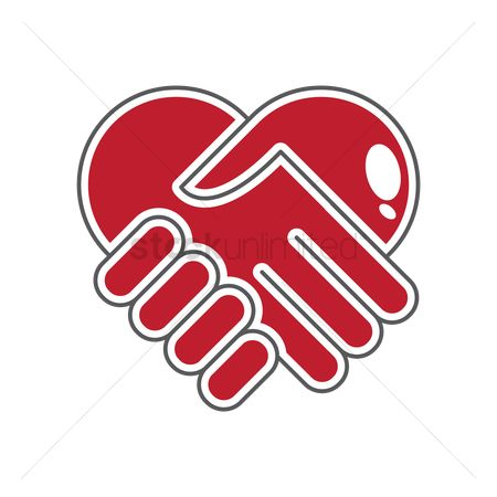 Health cares : Handshake heart symbol