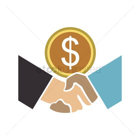 Business deal : Handshake with money sign above