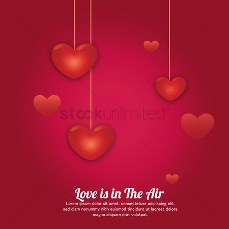 Background : Hanging hearts on red background