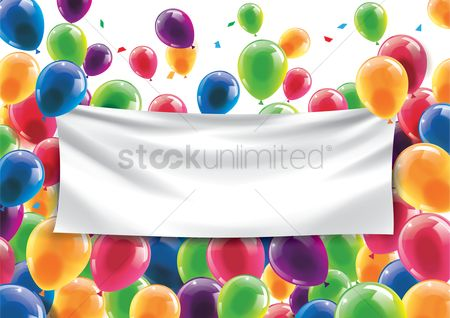 Party : Happy birthday concept with an empty banner