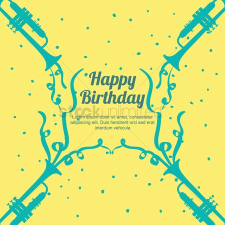 Trumpets : Happy birthday with copy space