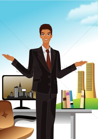 Office  building : Happy businessman