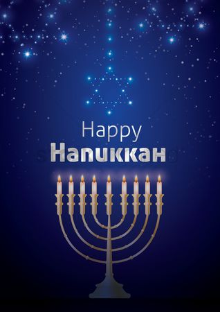 Lighting : Happy hanukkah poster design
