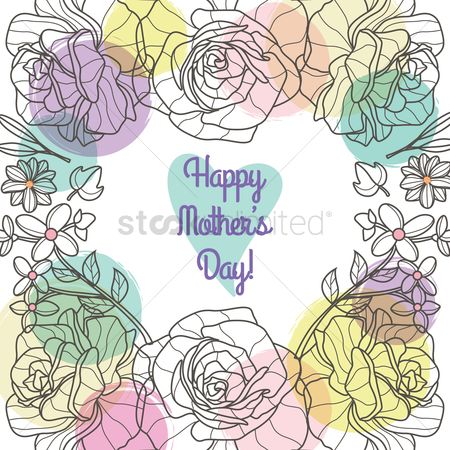 Heart shape : Happy mothers day card with flowers