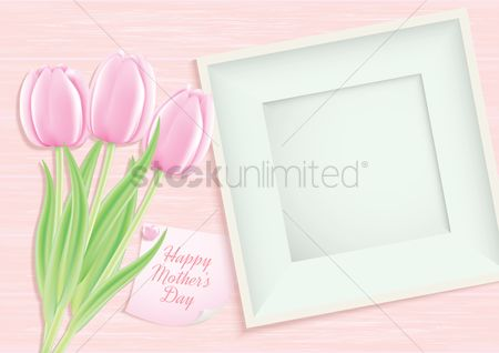 Mothers day : Happy mothers day card with frame and tulips