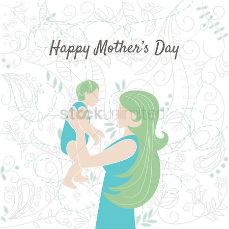 Mothers day : Happy mothers day card with mother and baby