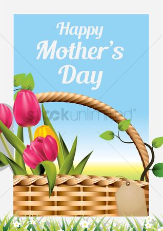 Grass background : Happy mothers day card