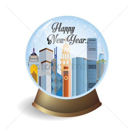 Resolutions : Happy new year snow globe
