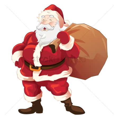 Red : Happy santa holding a present sack
