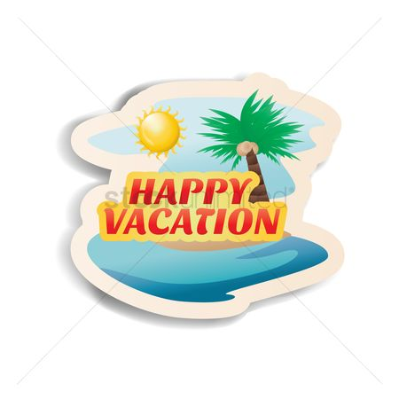 Happy summer : Happy vacation sticker with beach