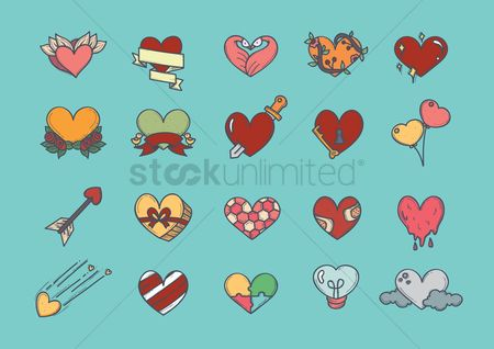 Romance : Heart icons set