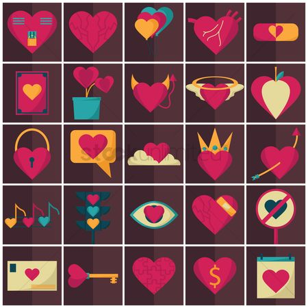 Love speech bubble : Heart icons