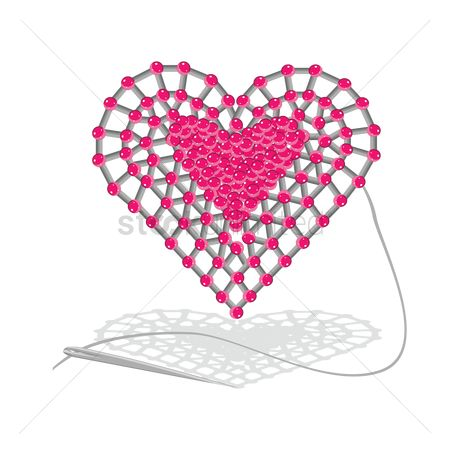 Needle : Heart shape with beads