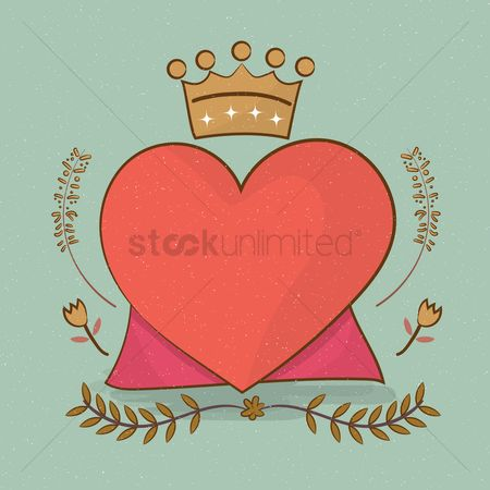 Heart : Heart with crown and cape