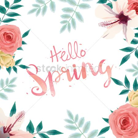 Vectors : Hello spring card design