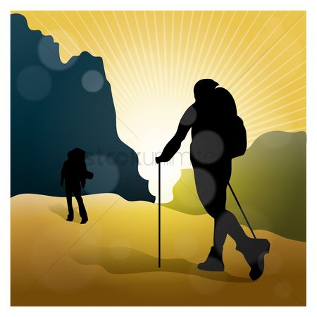 Hiking : Hikers silhouette
