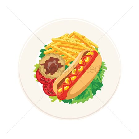 French fries : Hot dog with mashed potato and french fries