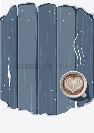 Warm : Hot drink on wooden background