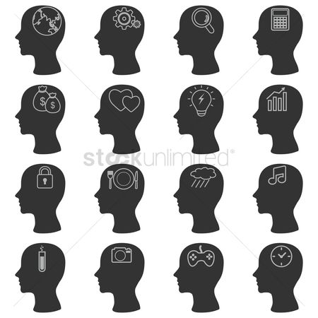 Mechanicals : Human head silhouette icons