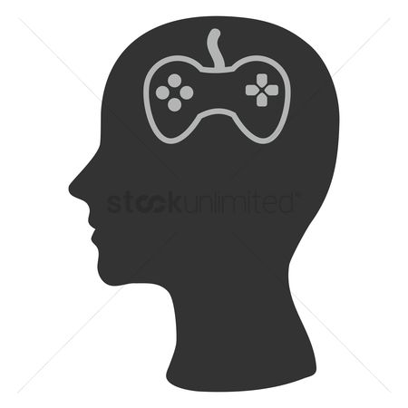 Imaginations : Human head silhouette with a joystick