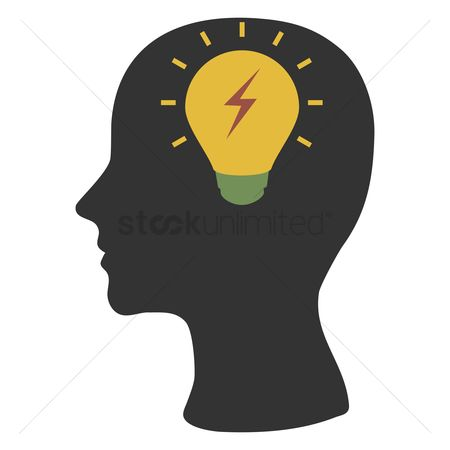 Ideas : Human head silhouette with bulb