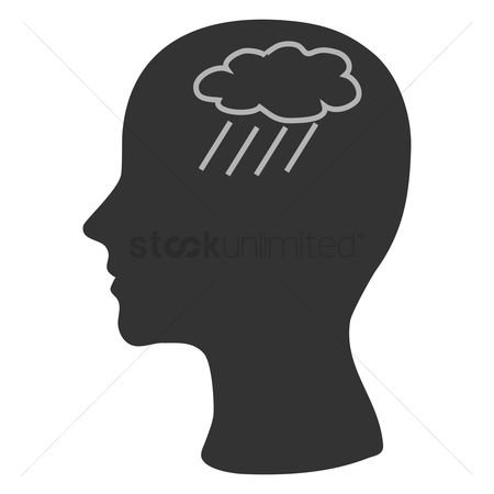 Imaginations : Human head silhouette with cloud and rain