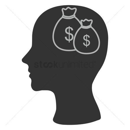 Imaginations : Human head silhouette with dollar bags