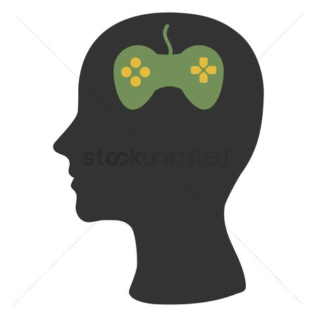 Imaginations : Human head silhouette with joystick