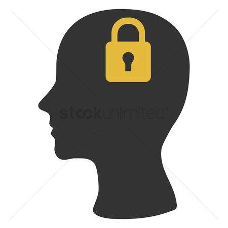 Imaginations : Human head silhouette with lock