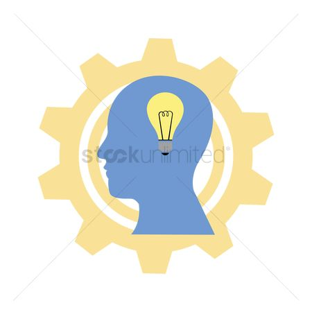 Imaginations : Human head with bulb