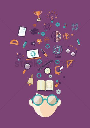 Ideas : Human head with education icons