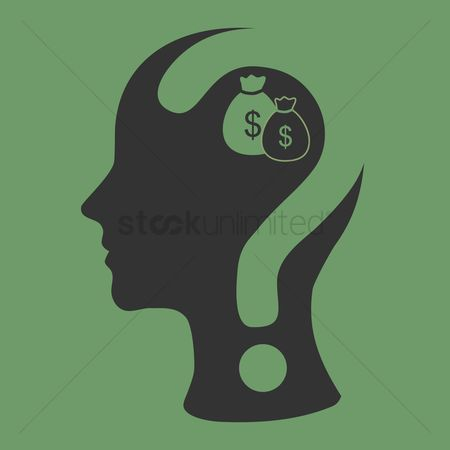 Imaginations : Human head with question mark and dollar bags