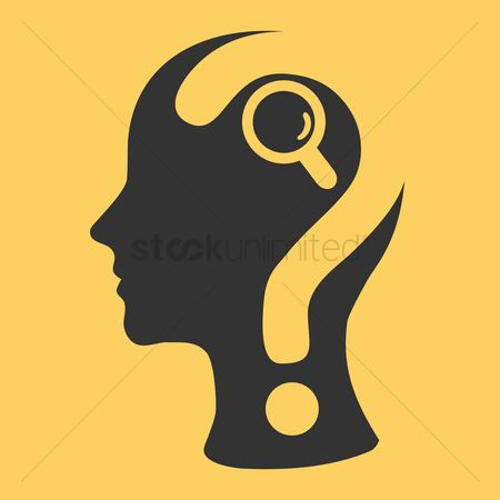 Imaginations : Human head with question mark and magnifier