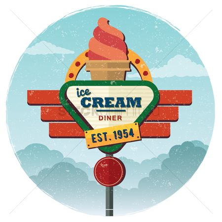 Old fashioned : Ice cream diner background