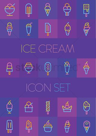 Fruit : Ice cream icon set