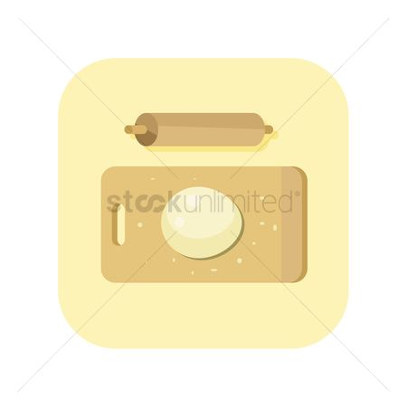 Flour : Icon of wooden board with rolling pin