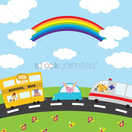 Automobile : Illustration of cartoon vehicles on the road