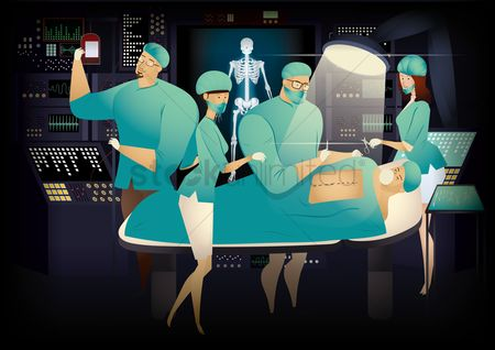Surgeons : Illustration of operating theater