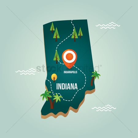 Indiana : Indiana map with capital city