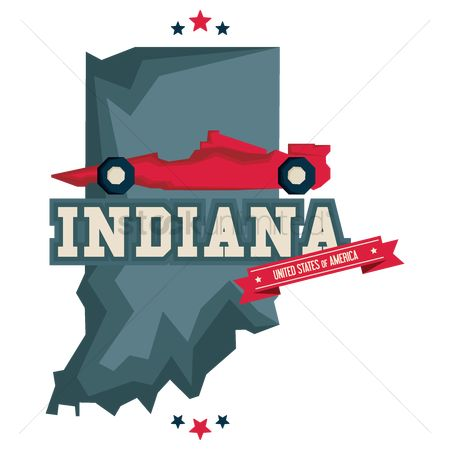 Indiana : Indiana map with car race