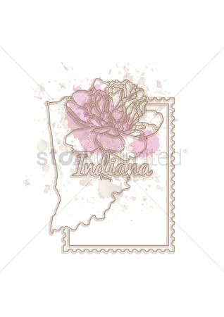 Indiana : Indiana map with flower