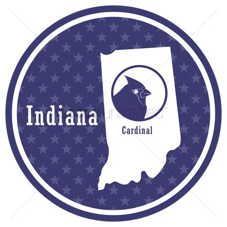 Indiana : Indiana state map with cardinal