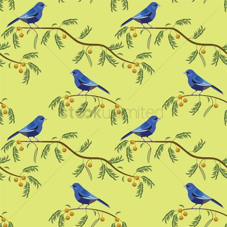 Background : Indigo bunting on branches