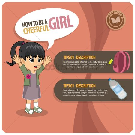 Tips : Infographic of a cheerful girl